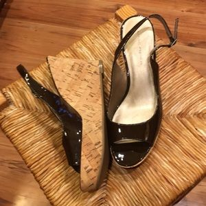 Marc Fisher brown leather wedge tootsie!